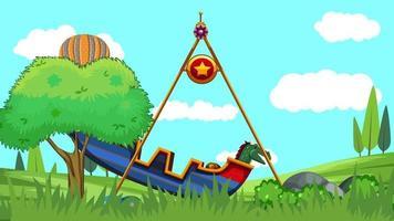 carrossel e balão na planície verde video