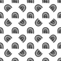 Black and white seamless rainbow pattern vector