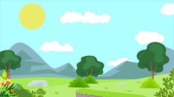 borboleta está voando na planície verde pela manhã video