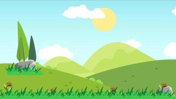 dia de vento em uma planície verde video