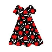 Summer women's dress with a bright floral pattern. Vector flat cartoon illustration.