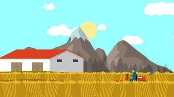Der Bauer arbeitet morgens auf dem Feld video