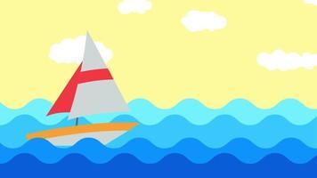 Boot ist auf dem Meer an einem windigen Tag video