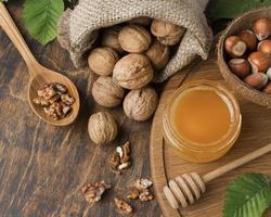 Close-up view of nuts arrangement photo