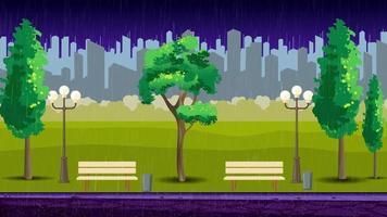 noche lluviosa en el parque video