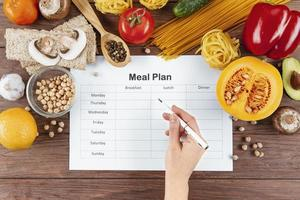 Flat lay meal plan with pasta ingredients photo
