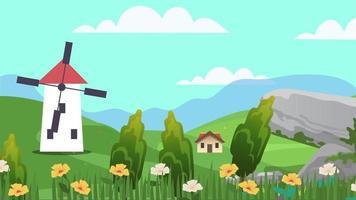 moinho de vento na planície verde