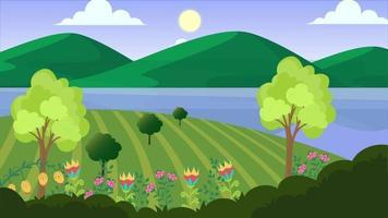 dia de vento na planície verde video