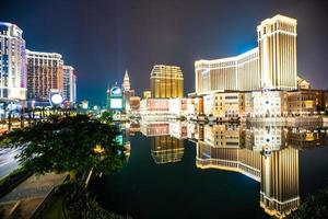Venetian and other hotel resort and casino in Macau city, China at night photo