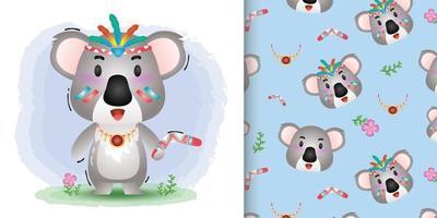 Cute koala with aborigine costume seamless pattern and illustration designs vector