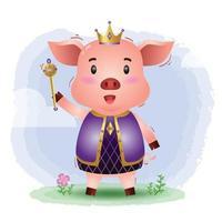 cute king pig vector illustration