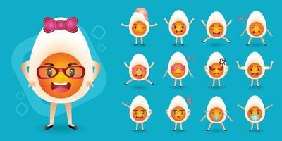 linda mascota huevos duros colección de conjunto de caracteres vector