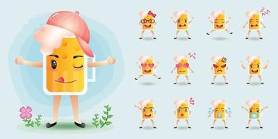 Cute mascot beer character set collection vector