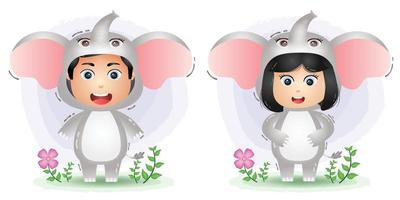 cute couple using the elephants costume vector