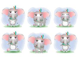 cute elephants collection with apache costume vector
