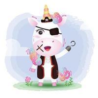 cute pirates unicorn vector illustration