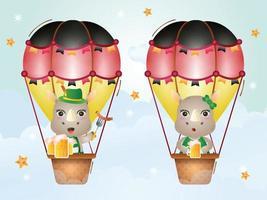 Cute rhino on hot air balloon with traditional oktoberfest dress vector