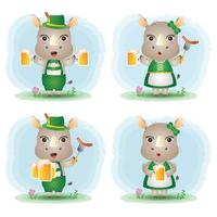 a cute rhino couple with traditional oktoberfest dress vector