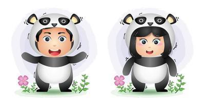 cute couple using the panda costume vector