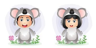 cute couple using the koala costume vector