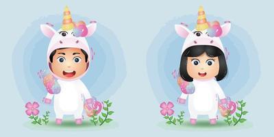 cute couple using the unicorn costume vector