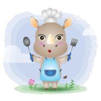 un lindo y pequeño chef de rinocerontes vector