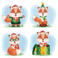 una linda colección de personajes navideños de zorros con sombrero, chaqueta, bufanda y caja de regalo vector