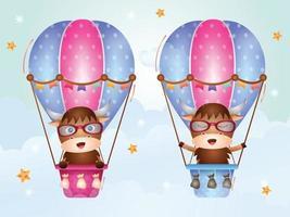 Cute buffalo on hot air balloon vector