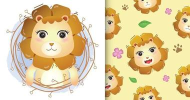 cute lioness with twigs seamless pattern and illustration designs vector