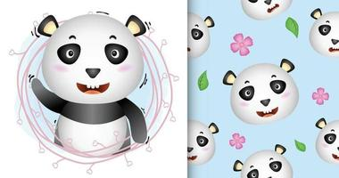cute panda with twigs seamless pattern and illustration designs vector