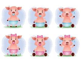 linda colección de cerdo bebé al estilo infantil vector