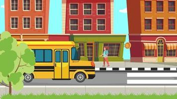 le bus scolaire le matin video