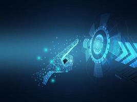 tecnología de botón cibernético de prensa humana futurista abstracta vector