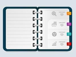 abstract infographics presentation element note book template with business icon vector