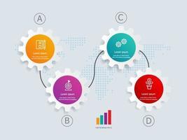 Plantilla de elemento de presentación de infografías horizontales de rueda dentada con iconos de negocios vector