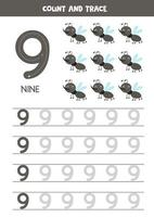 Tracing numbers worksheet with cute gnats. Trace number 9. vector