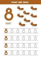 Tracing numbers worksheet with cute ants. Trace number 8. vector