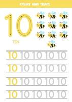 Tracing numbers worksheet with cute bee. Trace number 10. vector