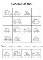 juego de sudoku para niños con medios de transporte de dibujos animados. vector