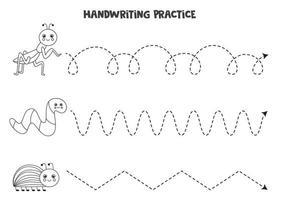 trazar líneas con insectos en blanco y negro. Practica de la escritura. vector