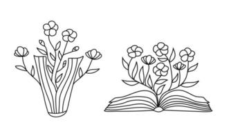 Open book with flowers sprigs. Conceptual illustration of write your own future. Vector concept for bookstore, literature club or library. Sketch illustration