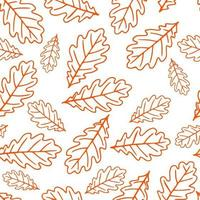 Seamless pattern with autumn oak leaves in orange, beige, brown. Perfect for wallpaper, gift paper, pattern fills, web page background, autumn greeting cards. vector