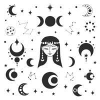 retrato estilizado de una hermosa joven con cabello largo. símbolo esotérico de una mujer, luna. elementos de diseño, tatuajes, pegatinas. Ilustración de vector lineal aislado sobre fondo blanco.