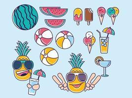 Cute summer illustration icon set vector