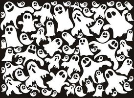 Happy Halloween's cute background pattern with ghots vector