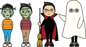 Kids on halloween costume illustration vector