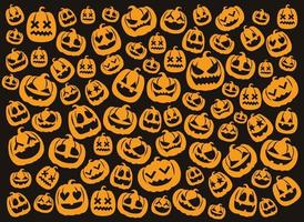 Happy Halloween's cute background pattern with pumpkins vector