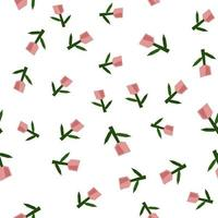 Scandinavian spring flower tulip Vector kids seamless background pattern for baby shower, textile design. Simple texture for nordic wallpaper, fills, web page background