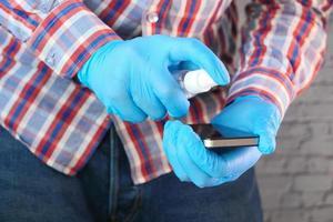 Sanitizing phone screen photo