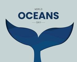 World Oceans Day With Whale Tail Paper vector